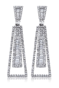 2.13 ct. t.w. Round & Baguette Diamond 14K Gold Earrings