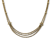 Spectacular Triple Strand Star 14K Gold Necklace