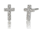 0.05 ct. t.w. Diamond Cross 14K Gold Stud Earrings