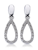 0.15 ct. t.w. Diamond Hoop Oval Drop 14K Gold Earrings