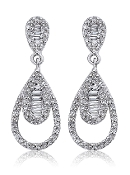 0.47 ct. t.w.  Baguette & Round Diamond Tear Drop Post Earrings