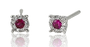 0.26 ct. t.w. Ruby 0.09 ct. t.w. Diamond Halo 14K Gold Earrings