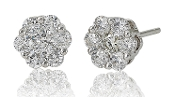 0.99 ct. t.w. Diamond Flower Cluster 14K Gold Stud Earrings