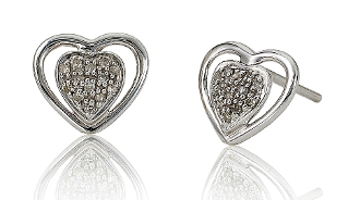 0.10 ct. t.w. Diamond Pave Heart 14K Gold Stud Earrings