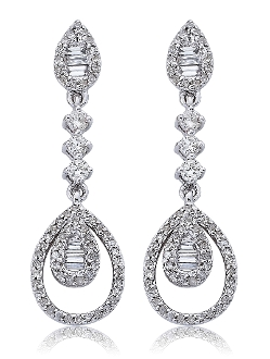 0.78 ct. t.w.  Pave & Baguette Diamond Teardrop Earrings