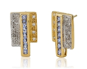 0.10 ct. t.w. Diamond & Channel-Set 14K Gold Earrings