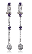 0.38 ct. t.w. Diamond Drop & Amethyst 14K Gold Earrings