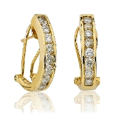 "1.50 ct. t.w. Channel Diamond ""J"" Hoop 14K Gold Earrings"