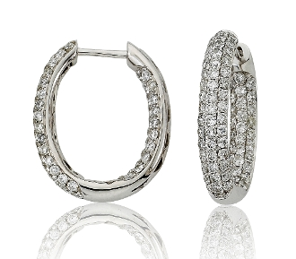 1.91 ct. t.w. Diamond Woven Back Oval 14K Gold Hoops