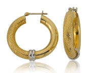 Woven Mesh Tube 14K Gold Hoop Earrings