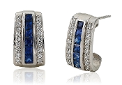 0.35 ct. t.w. Diamond & Sapphire J-Drop Posts 14K Gold Earrings