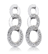 "0.75 ct. t.w. Pave Diamond Triple ""O"" 18K Gold Earrings"