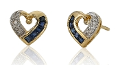 Diamond and Sapphire 14K Gold Heart Studs