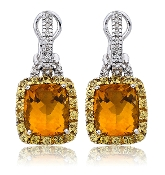 0.40 ct. t.w. Diamond Drop Citrine Lemon Quartz Halo 18K Earring