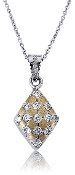 Cubic Zirconia Studded Snakeskin Marquis 14K Gold Pendant