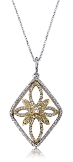 0.49 ct. t.w. Diamond Floral Marquis Two-tone 14K Gold Pendant