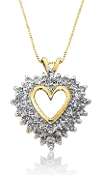 0.90 ct. t.w. Diamond Heart Cluster 14K Gold Pendant