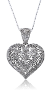 0.30 ct. t.w. Diamond Filigree Heart 14K Gold Pendant