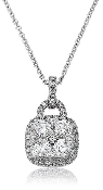 0.87 ct. t.w. Brilliant Five Diamond Halo 14K Gold Pendant