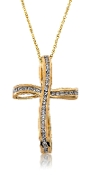 0.66 ct. t.w. Diamond Lined Ribbon Cross 14K Gold Pendant