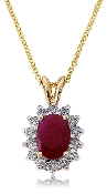14K Gold Ruby Diamond Halo Pendant Necklace