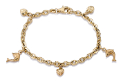 Child's Heart & Dolphin Charm Bracelet in 14K Yellow Gold