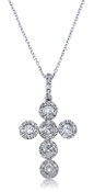 0.75 ct. t.w. Diamond Pave Halo Cross 14K Gold Pendant