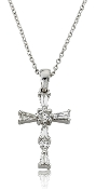 0.35 ct. t.w. Baguette & Round Diamond Cross Pendant