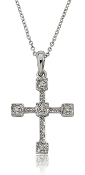 Diamond Milgrain Accent Gothic Cross 14K Gold Pendant