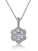 1.36 ct. t.w. Diamond Flower Cluster Halo 14K Gold Pendant