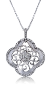0.41 ct. t.w. Diamond Water Lilly Scroll 14K Gold Pendant