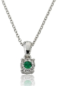 Emerald 0.09 ct. t.w. Diamond Halo 14K Gold Pendant