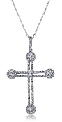 0.92 ct. t.w. Diamond Dual Halo Gothic Cross 14K Gold Pendant