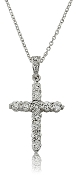 0.58 ct. t.w. Eleven Stone Diamond Cross 14K Gold Pendant