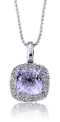 0.09 ct. t.w. Diamond Halo Alexandrite 14K Gold Pendant
