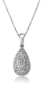 0.90 ct. t.w. Pave Diamond Drop 14K Gold Pendant