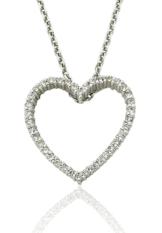 0.40 ct. t.w. Diamond Heart Outline 14K Gold Pendant