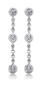 0.05 ct. t.w. Triple Diamond Drop Station 14K Gold Earrings
