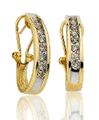 1.00 ct. t.w. Diamond Channel Set French Back J 14K Gold Hoops