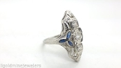 ART DECO 0.30 tcw Old Mine DIAMOND Sapphire 18K White Gold RIng