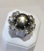 Genuine Oval BLACK STAR SAPPHIRE 0.70 tcw DIAMOND 14K Gold Ring