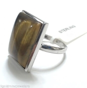 Tigers Eye Cabochon Polished Sterling Silver Bezel 925 Ring SZ 7