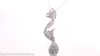 "SEAHORSE Pave CZ STERLING SILVER slide PENDANT and 18"" Necklace"