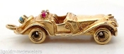 Monopoly Car 14K yellow GOLD Gemstone Charm 1930's Convertible