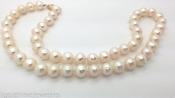 Vintage 14k Gold Natural Sea AAA White Baroque Pearl Necklace
