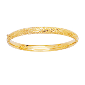 Polished 14 Karat Yellow Gold Criss-Cross Designer Etched Bangle