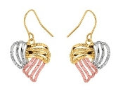 Fancy Tri-Color 10K Gold Diamond Cut Ribbon Heart Earrings