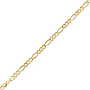 Solid 14 Karat Gold 4.5 mm Classic Figaro Chain