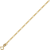 Solid 14 Karat Gold 1.9 mm Classic Figaro Chain