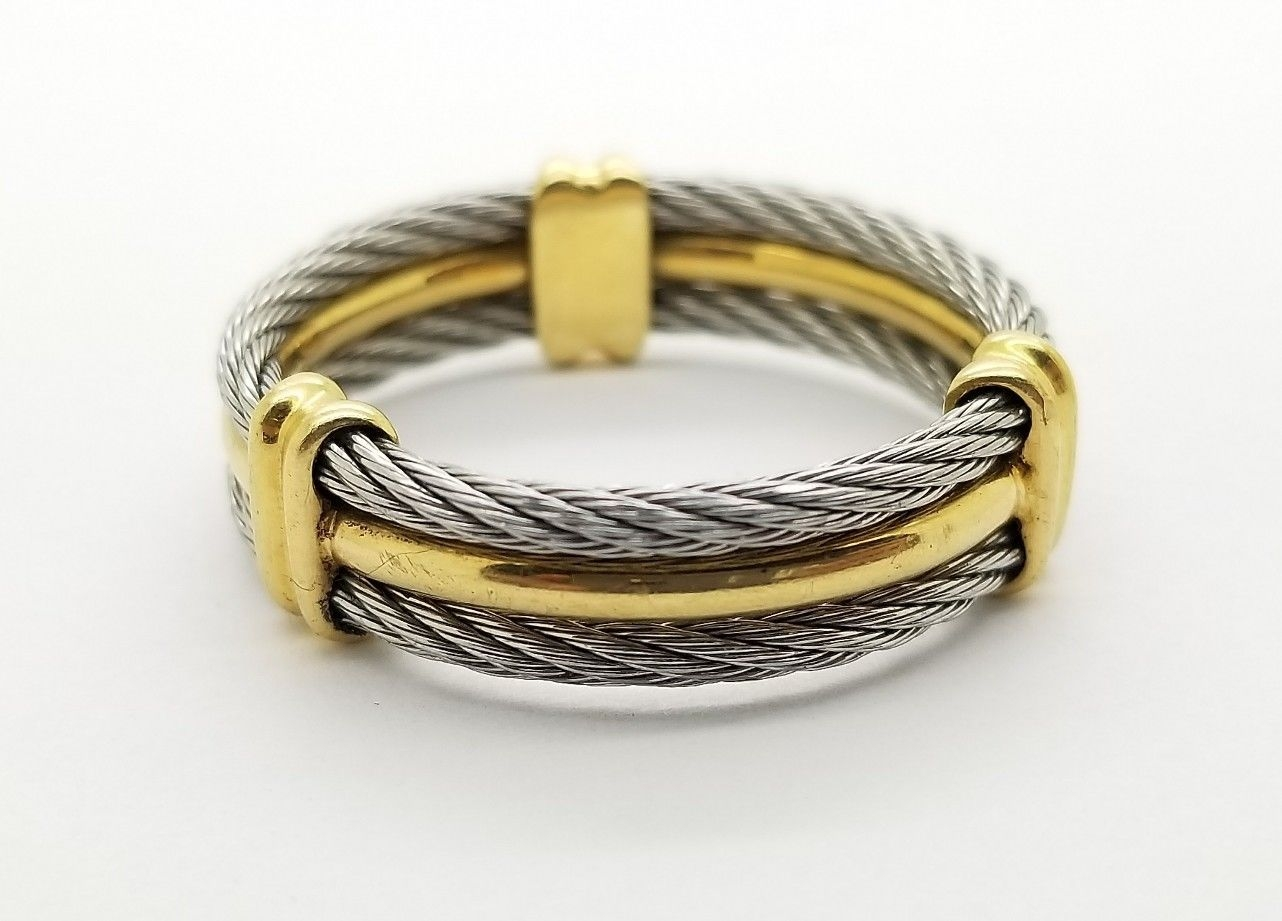 Designer Charriol Alor 18K Yellow Gold SS Cable Celtic Wedding Ring ...